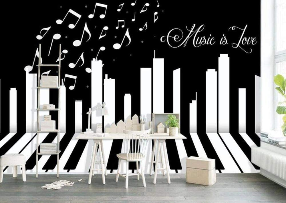 Wallpaper 3d Black And White Key Music Theme Custom Photo Wallpaper Murals Wall Decor Amazon Com