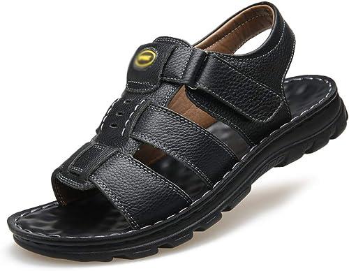 BNMZX Herren Sandalen Leder Casual Large Größe Strand Schuhe Hausschuhe Velcro Ledersandalen Wandern,schwarz-41
