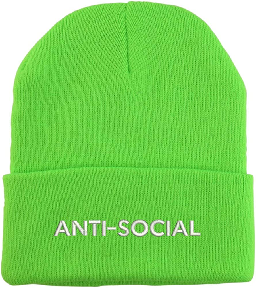 Trendy Apparel Shop Anti Social Embroidered Winter Long Cuff Beanie