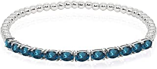 Sterling Silver Genuine, Created or Simulated Gemstone Oval Beaded Stretch Tennis Style Bracelet