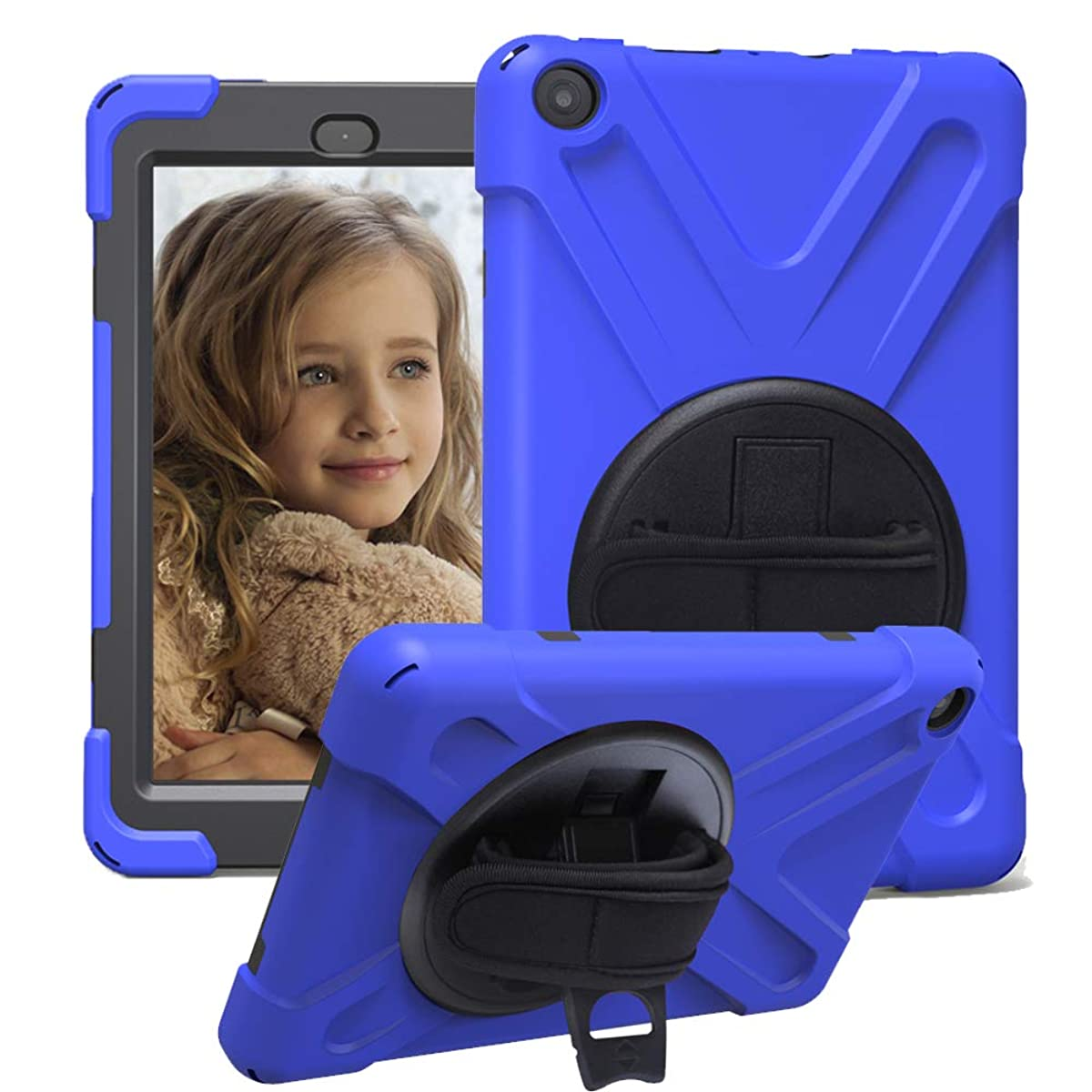 CCMAO All New HD 8 Tablet Case (8th & 7th Generation, 2018/2017 Release), [Hand Strap]360 Degree Rotating Full-Body Impact Resistant Protective Case For All New HD 8 Tablet (blue)