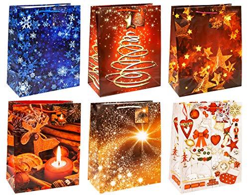 TSI 83318 Sacchetti da Regalo, 6 Motivi di Natale, Misura 32 X 26 X 13,5 Cm, Confezione da 12 Pezzi