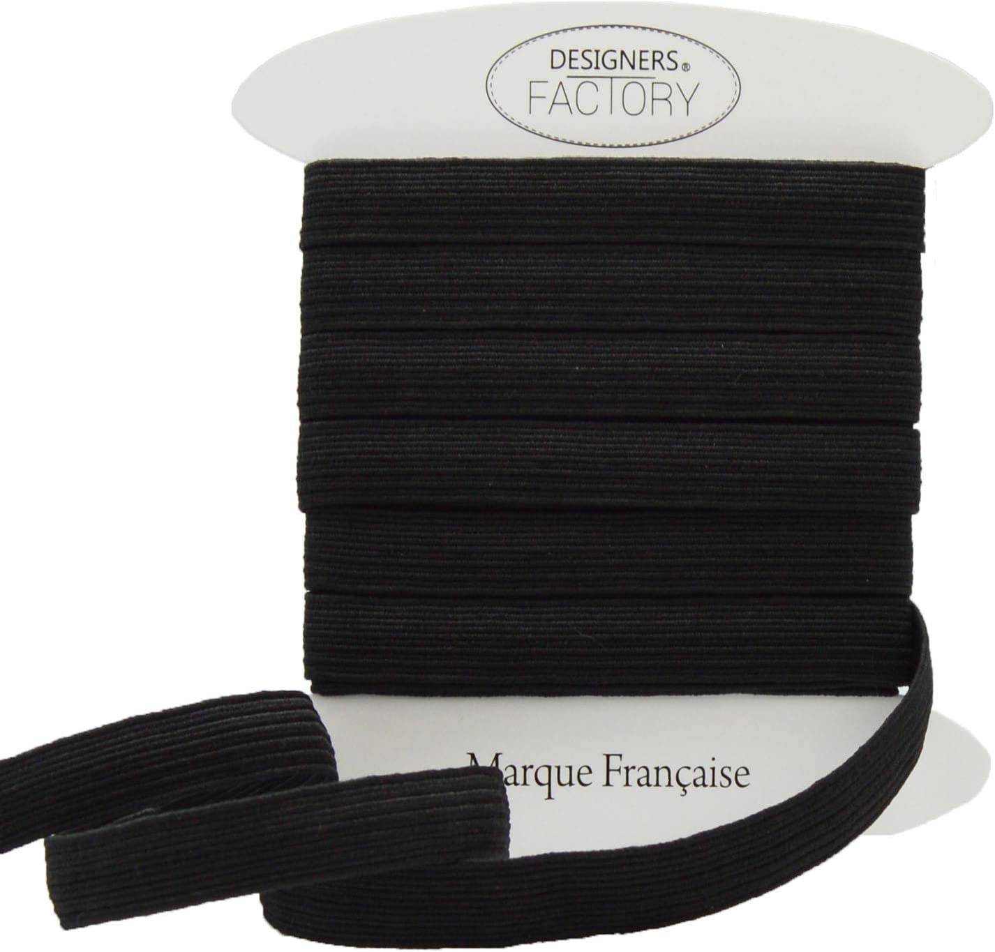 Designers-Factory color negro Cinta el/ástica para costura por 10 metros