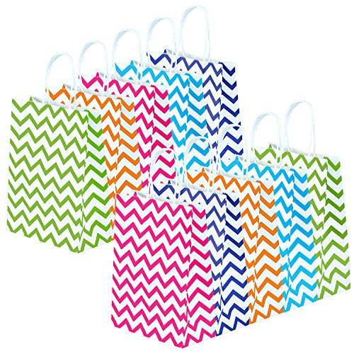Keriber 20 Stück Papier Party Taschen Streifen Geschenktüte Kraft Tasche mit Griff für Geburtstag, Tea Party, Hochzeit und Party Feiern, Mehrfarben