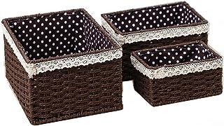Panier de rangement Multi Purpose for faciliter le transport 3 pièces Paniers main Weave rangement avec doublure à pois im...