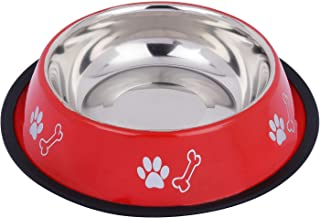 PetCeptual Stainless Steel Paw & Bone Print Food and Water Feeding Bowl for Dogs & Pets with Anti Skid Rubber - (Red, Medi...