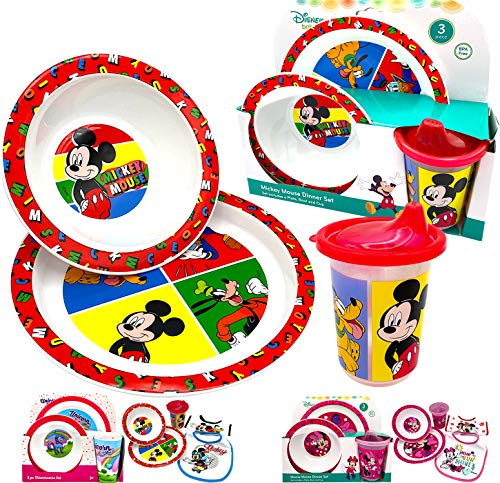 Disney Classic Mickey Baby Toddler Utensil Dinnerware Dish Feeding Set Gift Box including Break Resistant Bowl, Dish Plate, Tumbler Cups - Safe BPA free, Easy to Clean, Perfect Gifts for Kids
