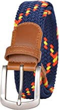 Braided Elastic Belts for Women and Men, Multicolor Stretch Woven Belt with Pin Buckle, 45 Inch