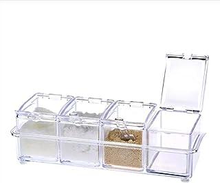 Epices Poivre de sel transparent Assaisonnement Jar Cuisine Cuisine Condiment Boîte de rangement Boîte avec couvercle ant...