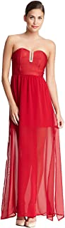 Wow Couture Strapless Tulip Skirt Maxi Dress, Small, Red