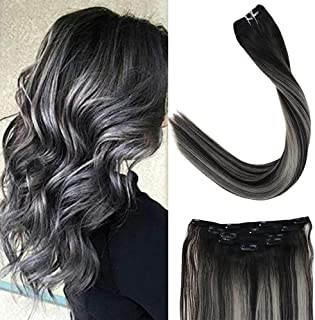 LaaVoo 16 Inch Dip Dye Real Clip In Human Hair Extensions Balayage Ombre Color Off Black to Grey Silver 3/4 Full Head Straight Clip in Hair 5pcs 70g Per Package (#1b/silver/1b)