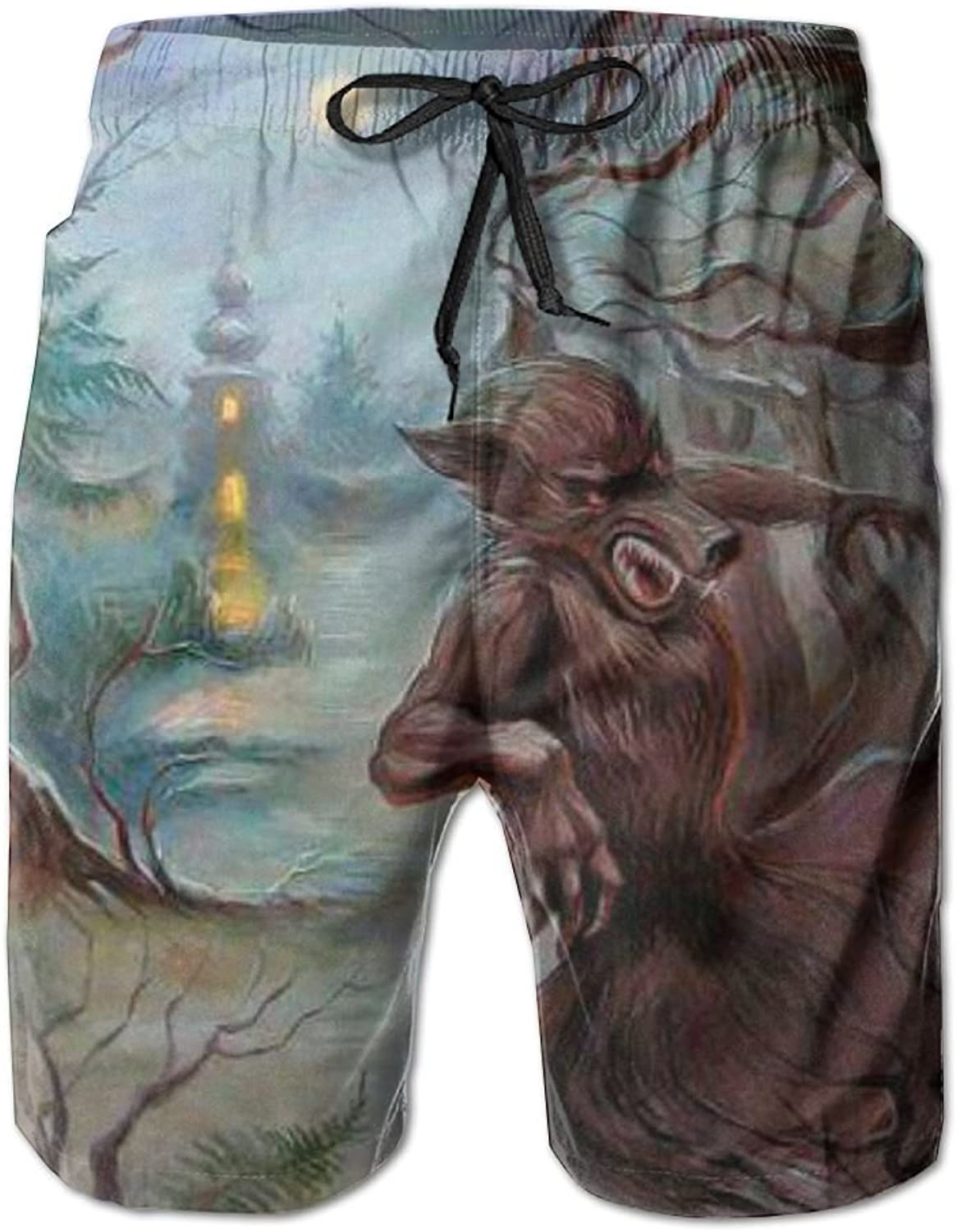 321d59702929b Tydo Quick Dry Beach Shorts Fantasy Wolf Painting Swim Swim Swim Trunks Surf  Board Pants With Pockets For Men 996d2c