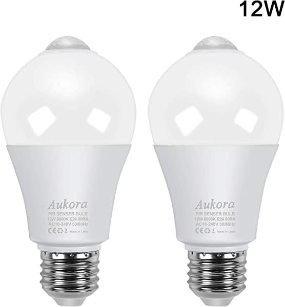 Motion Sensor Light Bulbs Aukora 12W 100 Watt Equivalent E26 Motion Activated Dusk To Dawn Security Light Bulb Outdoor Indoor For Front Door Porch Garage Basement Hallway Closet Cold White 2 Pack