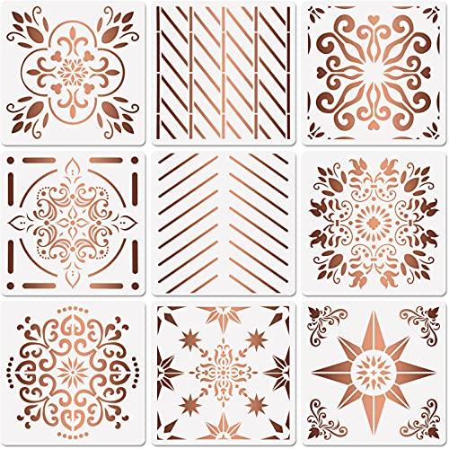 9 Plantillas de Azulejos Plantillas de Pintura de Azulejos Grandes Plantilla de Pared de Azulejos Plantilla de Piso Reutilizable Diseño para Azulejos de Bricolaje, 12 x 12 Pulgadas