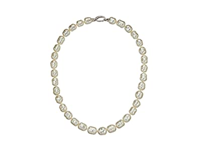 Majorica 10 mm 17 Timeless19 Baroque Pearl Necklace with Silver Bean Clasp (White) Necklace