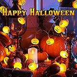 Luces Calabaza, Luz Cadena, Cadena de Luces de Calabaza, Utilizada para la Fiesta de Halloween, Vacaciones, Decoración de Interiores y Exteriores, IP44 a prueba de agua 20 Luces