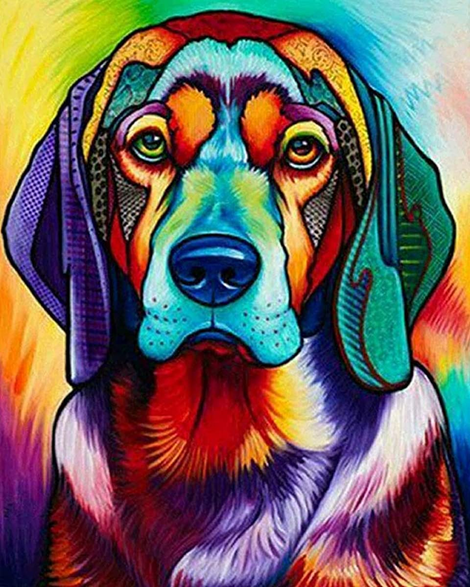 """iCoostor Paint by Numbers DIY Acrylic Painting Kit for Kids & Adults Beginner – 16"""" x 20"""" Dog Pattern"""