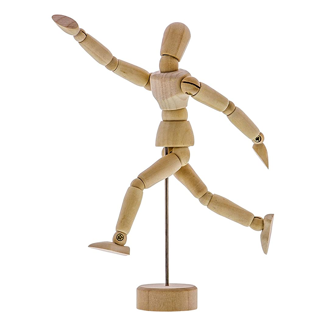 US Art Supply Wood Artist Drawing Manikin Articulated Mannequin with Base and Flexible Body - Perfect For Drawing the Human Figure (5