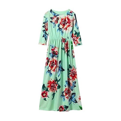 3d37d75ee4a Fineser TM Little Girls Floral Print Long Sleeve Tank Dress Casual Long  Dress Stretch Maxi Dress