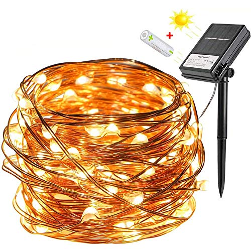Solar and Battery Double Powered Fairy Lights, [8 Modes and Timer] 100 LEDs 10m Outdoor Waterproof Copper String Lights for Christmas, Wedding, Party, Garden, Patio, Yard, Pathway (Warm White)