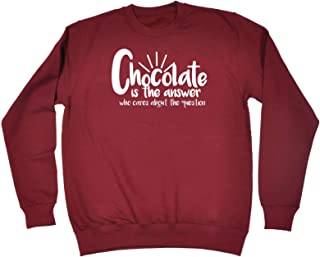 123t Funny Novelty Funny Sweatshirt - Chocolate is The Answer - Sweater Jumper