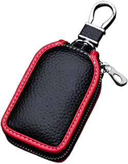 Car Key Case - Superior Genuine Leather Auto Key FOB Holder Smart KeyChain Protector Cover with Metal Hook and Zipper (Bla...