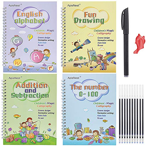 Magic Practice Copybook Three-Dimensional Groove for Kids,8.34inchX5.62inch Handwriting Workbooks Magical Reusable Learning Book Calligraphy Alphabet Mathematical Drawing Set (4 Books with Pen)