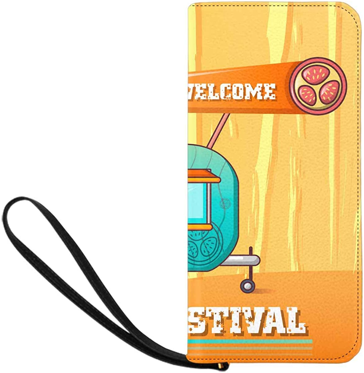 INTERESTPRINT Welcome Pizza Festival Purse Clutch Bag Wristlet Wallet with Strap