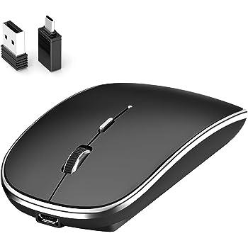 Mouse Inalámbrico,Leolee Ratón Recargable Wireless 2.4G Ergonómico óptico Silencioso Click con Receptor USB y Tipo-c Adaptador 3(1000/1200/1600)Ajustable DPI Ratón Para Computadora,Portátil,PC,Mac (Negro)