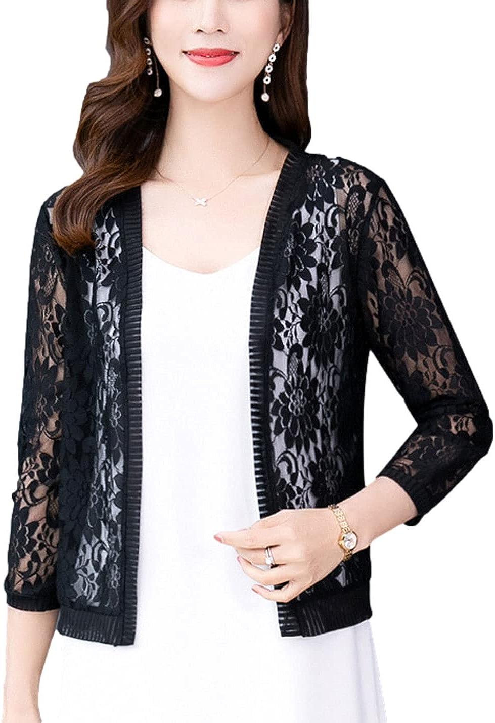 FindThy Women's Floral Lace Shrug Cardigan 3/4 Sleeve Crochet Bolero Jacket