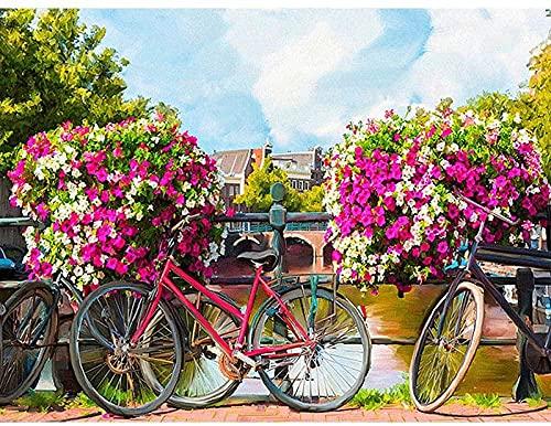 Kits de pintura de diamante 5D para adultos, taladro redondo completo, bicicleta, puente de flores, pintura de punto de cruz, manualidades, pintura DIY para regalo para el hogar, 30x40cm