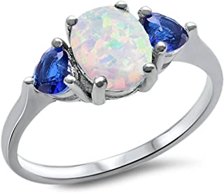 Sterling Silver Oval Lab Created White Opal & Blue Simulated Sapphire Heart Ring Sizes 4-10