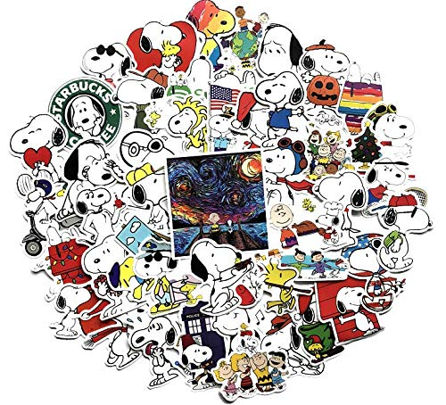 Cartoon Snoopy Graffiti Sticker Waterproof Sunscreen Car Sticker Electric Car Luggage Suitcase Decoration Sticker 62 Sheets