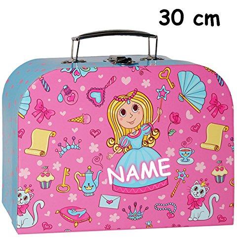 alles-meine.de GmbH 1 Stück _ Koffer / Kinderkoffer - GROß -  Prinzessin & Schmetterlinge - rosa / pink  - incl. Name - 30 cm - Pappkoffer - Puppenkoffer - Kinder - Pappe Karto..