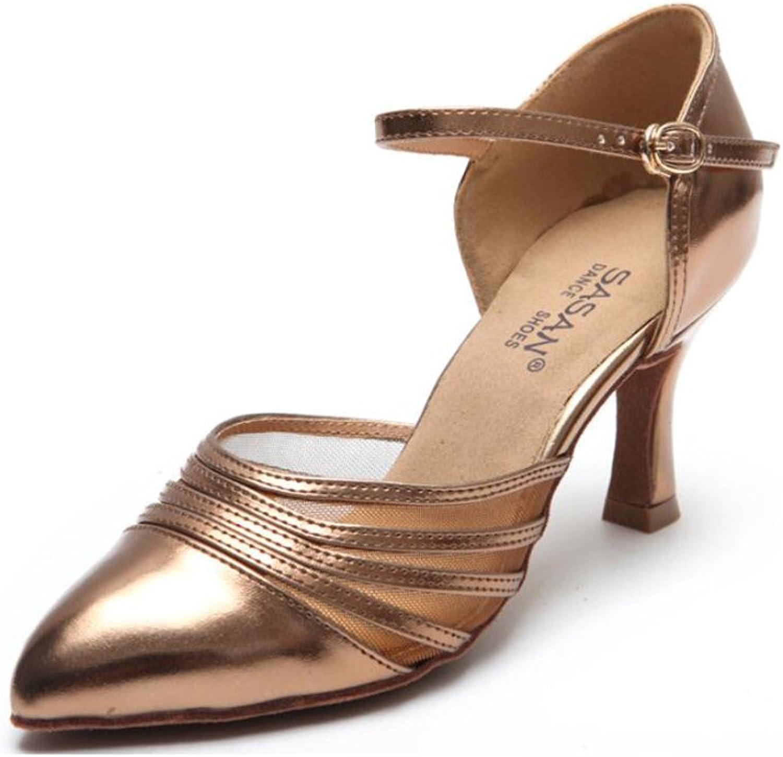 Women's Latin shoes Salsa shoes Ballroom shoes Sandal PU Heel Dance shoes Party & Evening Bronze, Black (color   A, Size   39)