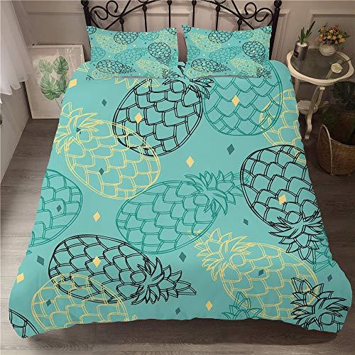 Treer Bettwäsche-Set 3 teilig, Microfaser Drucken Ananas Reißverschluss Bettbezug +2 x Kissenbezug 50x75cm 3D Design Warme Bettwäsche (3pcs-220x240+50x75cm,Pineapple)