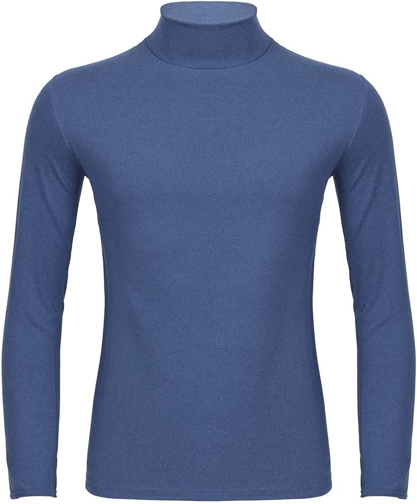 GPPZM Thermal Underwear Top for Men Solid Color Warm Stretchy Long Sleeve Turtleneck Shirt Seamless Autumn Winter Thermo (Color : C, Size : L Code)