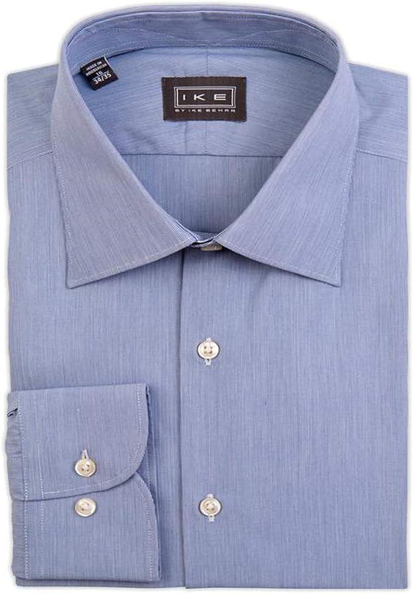 IKE Behar Mid-Blue Hairline Stripe Dress Shirt