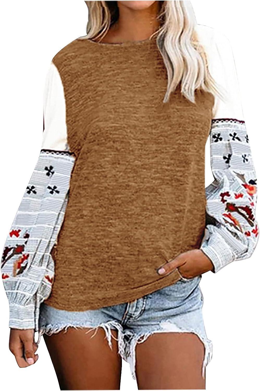 Womens Color Block Pullover Causal Print Sweatshirt Raglan Long Sleeve Tunic Tops Loose Tunic Shirts Tops