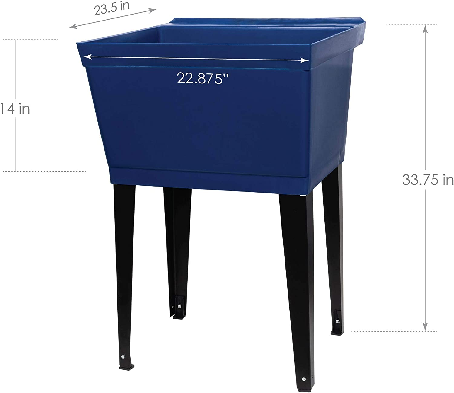 Heavy Duty Shop Sink Basement Blue or Garage Workshop 19 Gallon Utility Sink Laundry Tub by JS Jackson Supplies with Adjustable Metal Legs Ideal for Laundry room No Faucet Included