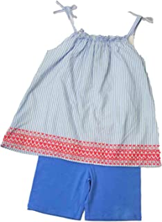 cc587b0da9168 Infant & Toddler Girls Baby Summer Outfit Blue & White Stripe Shirt ...