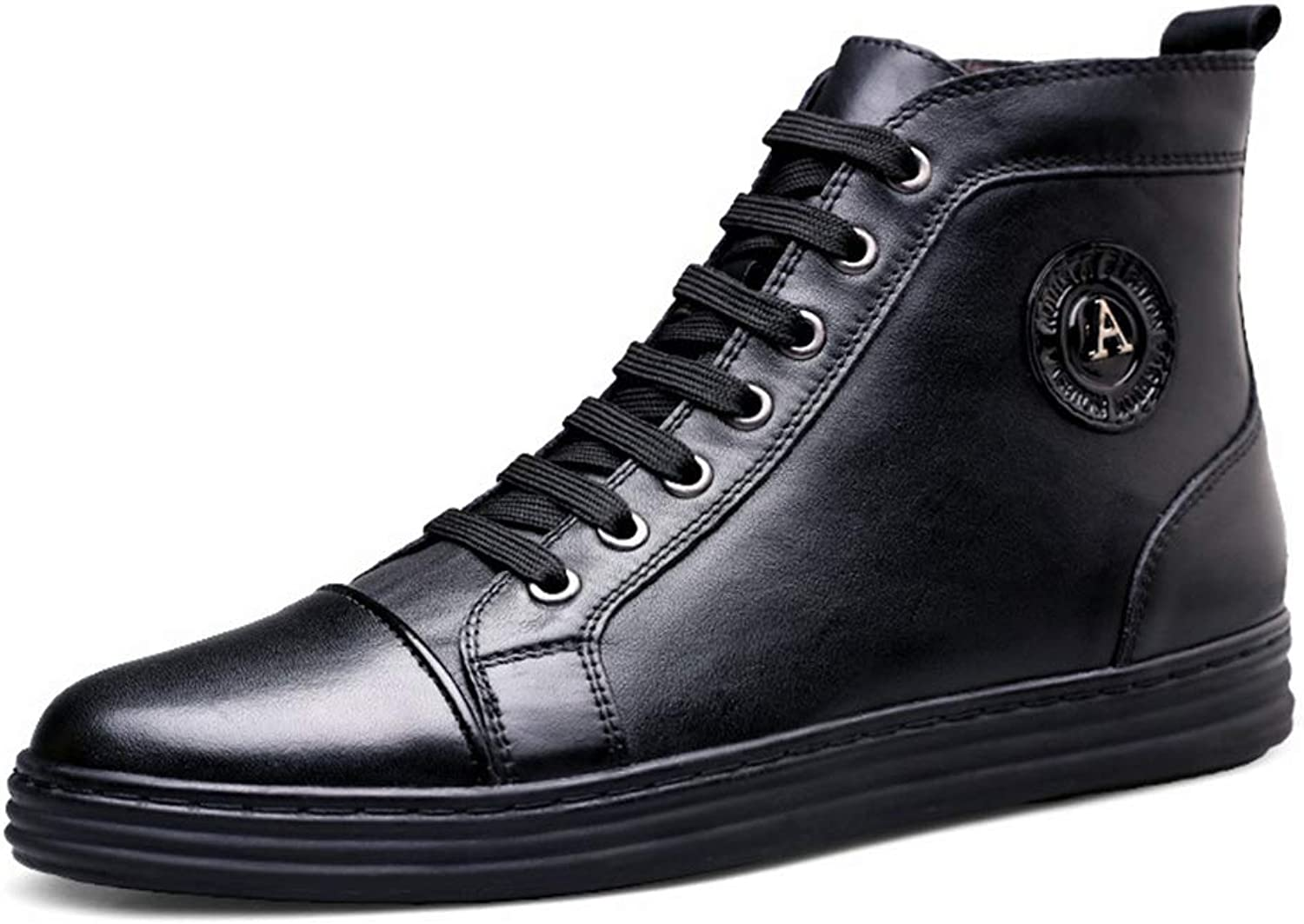 Men's Leather shoes Fall Winter New Casual shoes High-Top Comfortable Deck shoes Flat shoes Driving shoes,Black,43