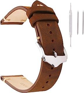 گروههای ساعت تماشای چرمی اصیل چرمی اسب دیوانه / موم روغنی / جیر / سبزیجات برنزه شده / ایتالیا الگوی بامبو چرمی بند بند ساعت بندهای تعویض 18mm 20mm 22mm