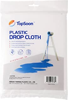 TopSoon Plastic Drop Cloth 9-Feet by 12-Feet Clear Tarp Plastic Painting Tarp Plastic Sheeting Waterproof Patio Furniture Cover