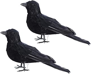 Amosfun 2pcs Simulated Halloween Decoration Realistic Crows Props Black Feathered Birds Halloween Toys