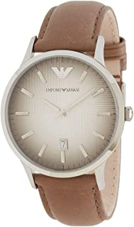 Emporio Armani For Men Light Gray Dial Leather Band Watch - AR2470