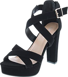 TOP Moda Lovely-86 Women's Peep Toe Platform Chunky High Heel Closed Back Sandals