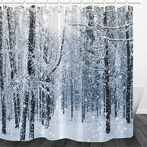 LB Schnee Wald Duschvorhang Weiß Schneeflocke Bad Gardinen Winter Anti Schimmel Wasserdicht Polyester Badezimmer Deko mit Haken,180x200cm