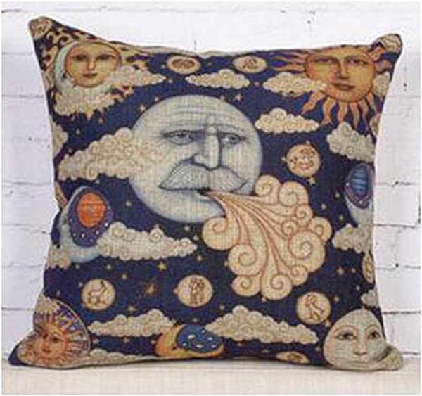 Bnitoam Ancient Egyptian Wall Paintings Retro Sun God Moon God Throw Pillow Case Cushion Cover Decorative Cotton Blend Linen Pillowcase For Sofa 18 X 18 5