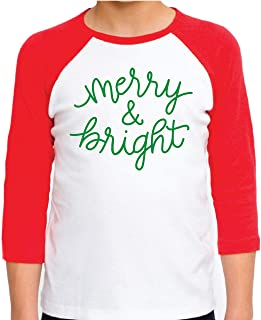 Kids Christmas Shirt for Boys and Girls, Merry and Bright